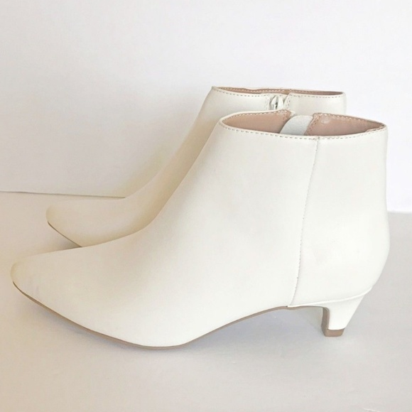 6928573466d White Flo Kitten Heel Faux Leather Ankle Boot
